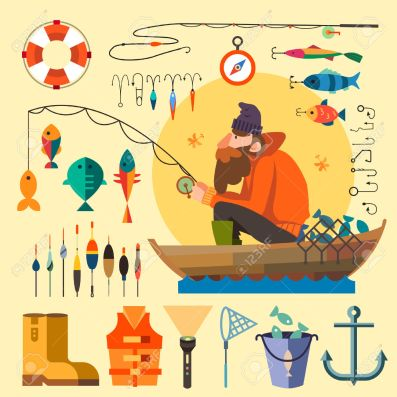 fisherman-in-a-boat-fishing-fishing-rod-hooks-bait-boat-fish-anchor-water-beard-chain-compass-vector-stock-vector